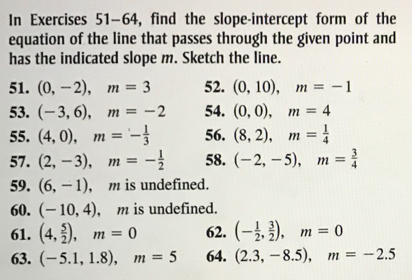 slope intercept form how to find m  Solved: Find The Slope-intercept Form Of The Equation Of T ...