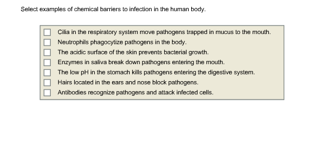 Solved Select Examples Of Chemical Barriers To Infection