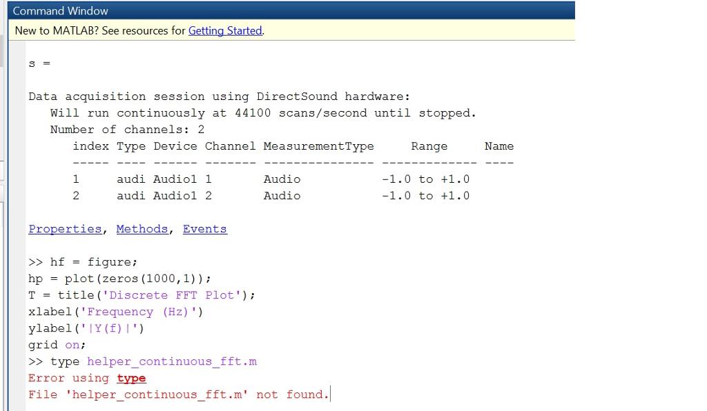 Acquire Continuous Audio Data With MATLAB Through
