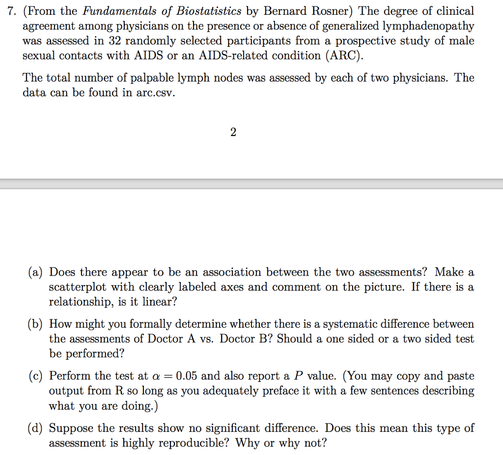 7 From The Fundamentals Of Biostatistics By Bern Chegg