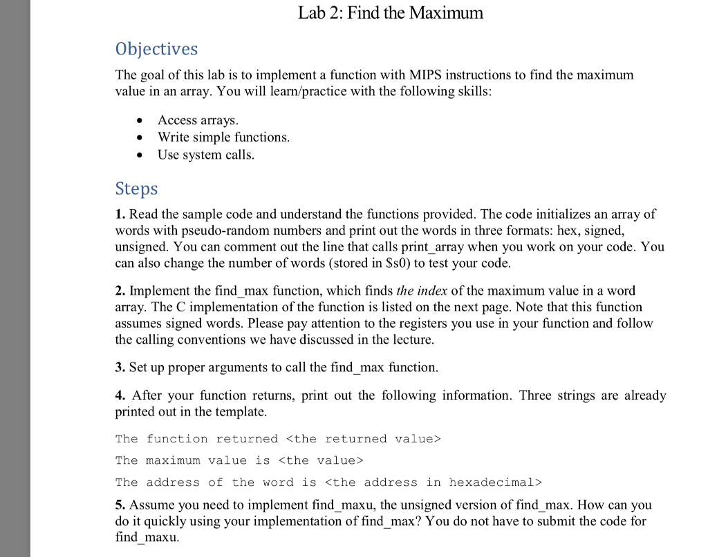 Complete the following program in mips assembly l chegg lab 2 find the maximum objectives the goal of this lab is to implement a maxwellsz