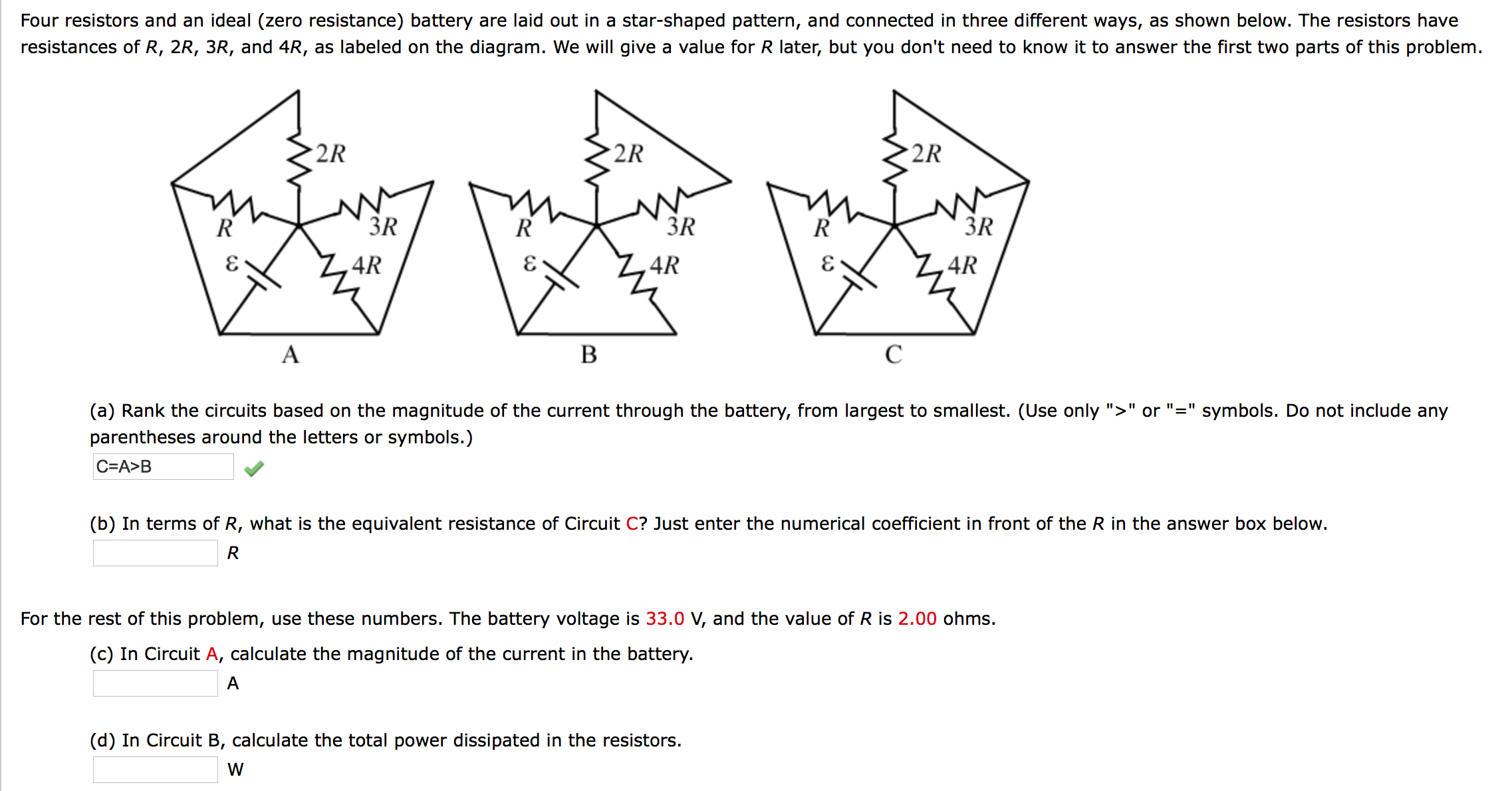 Four resistors and an ideal (zero resistance) batt
