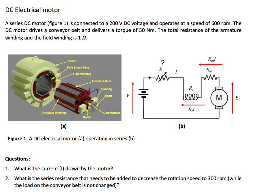 Solved dc electrical motor a series dc motor figure 1 i dc electrical motor a series dc motor figure 1 is connected to a 200 ccuart Images