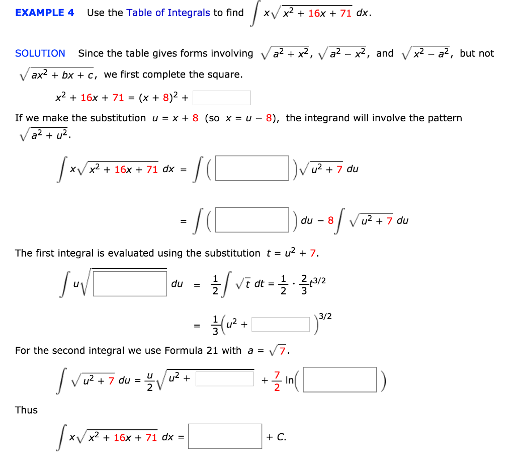 Example 4 Use The Table Of Integrals To Find Xv X2 16x 71 Dx Solution
