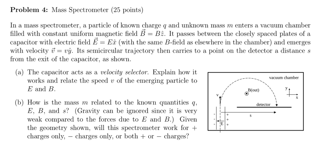 Solved: Problem 4: Mass Spectrometer (25 Points) In A Mass