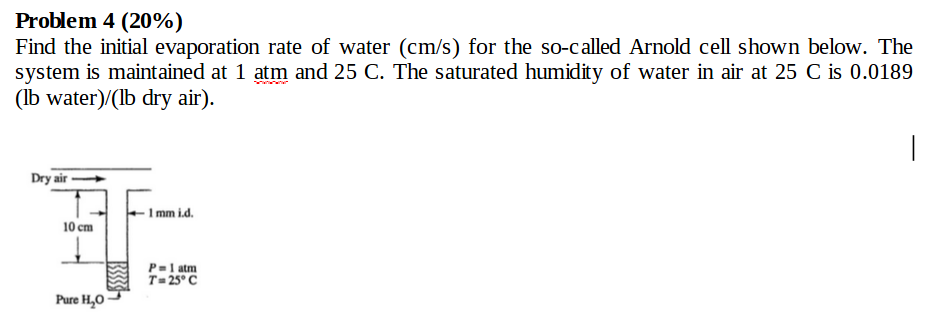 Problem 4 20 Find The Initial Evaporation Rate