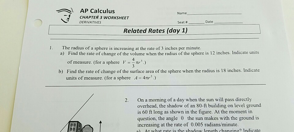 Solved: AP Calculus CHAPTER 3 WORKSHEET DERIVATIVES Name S