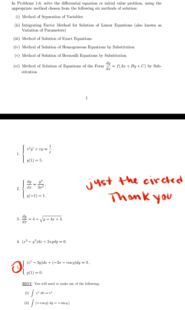 Solved: In Problems 1-6, Solve The Differential Equation O
