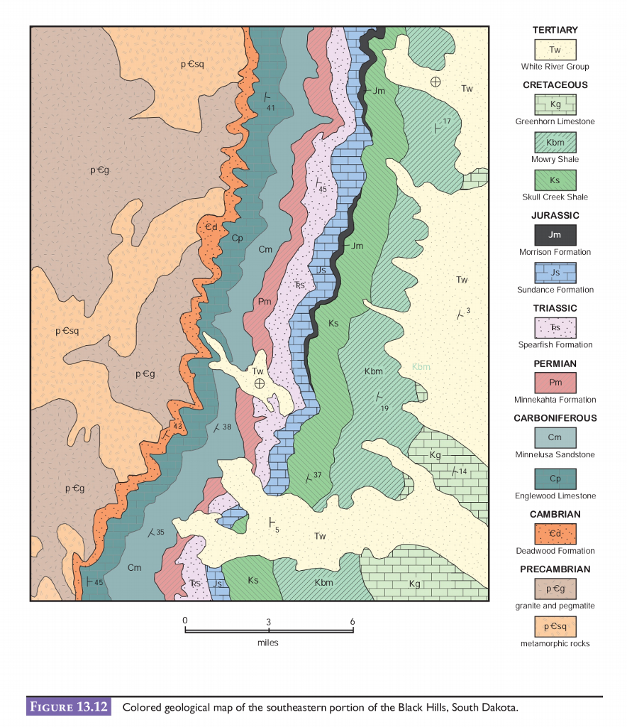 Question: Use the geologic map in figure 13.12 in your lab manual to help  answer a series of questions rega.