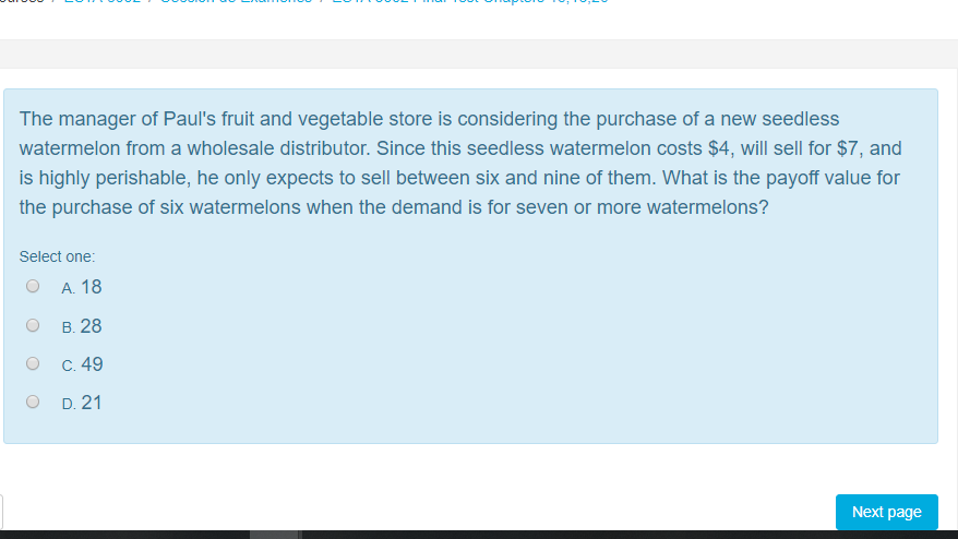 Solved: The Manager Of Paul's Fruit And Vegetable Store Is
