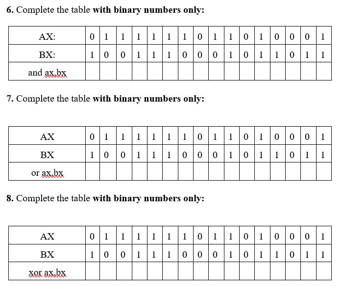 solved 6 complete the table with binary numbers only АХ