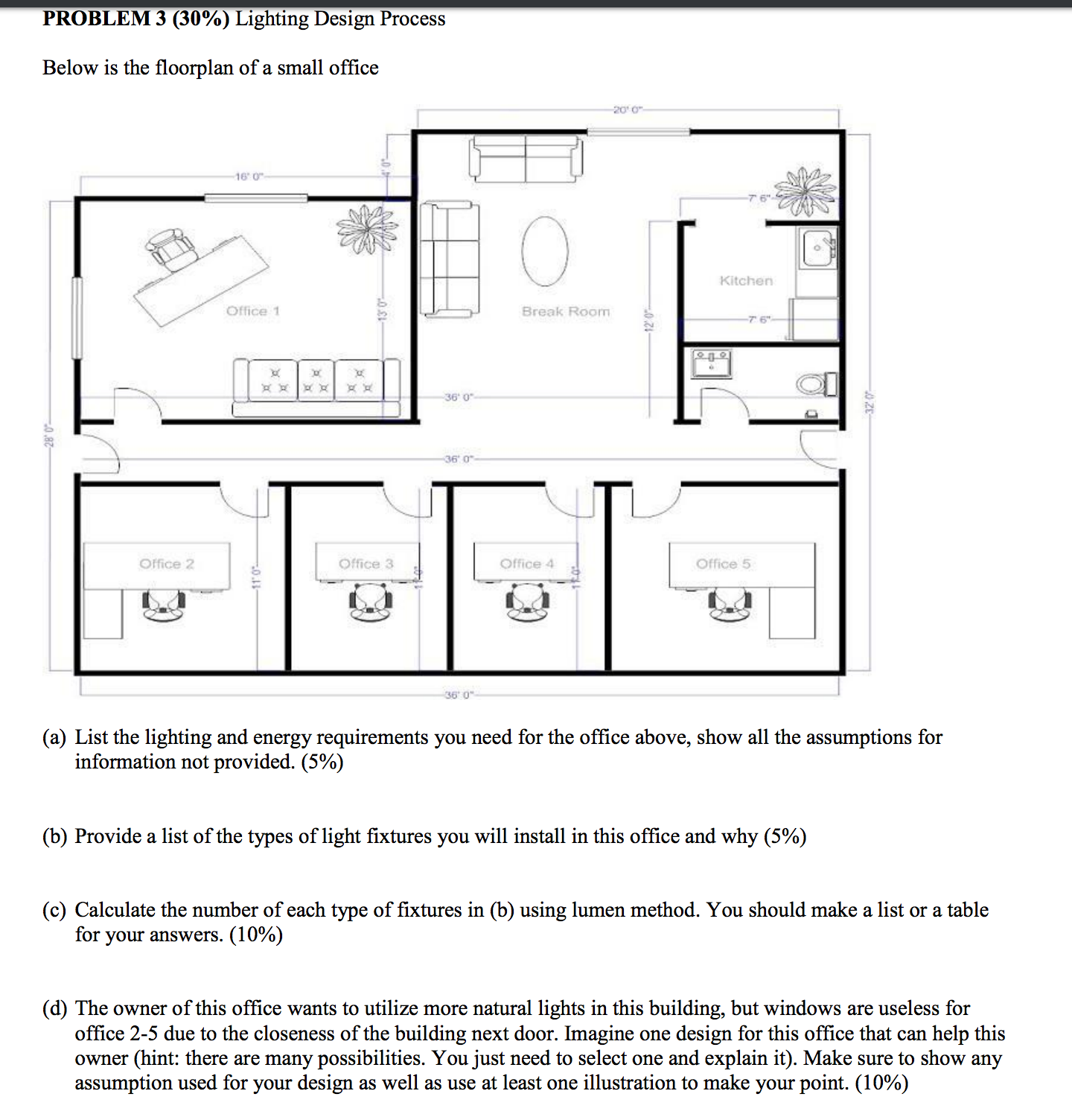 Below is the floorplan of a small office list the
