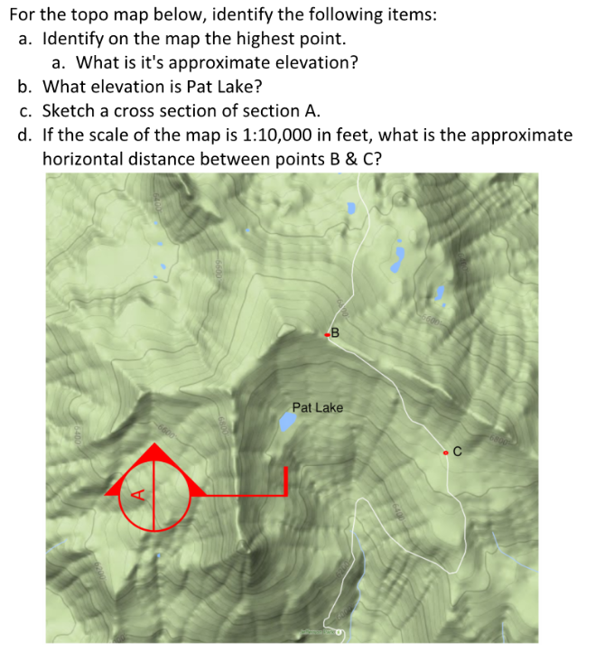 Solved: For The Topo Map Below, Identify The Following Ite
