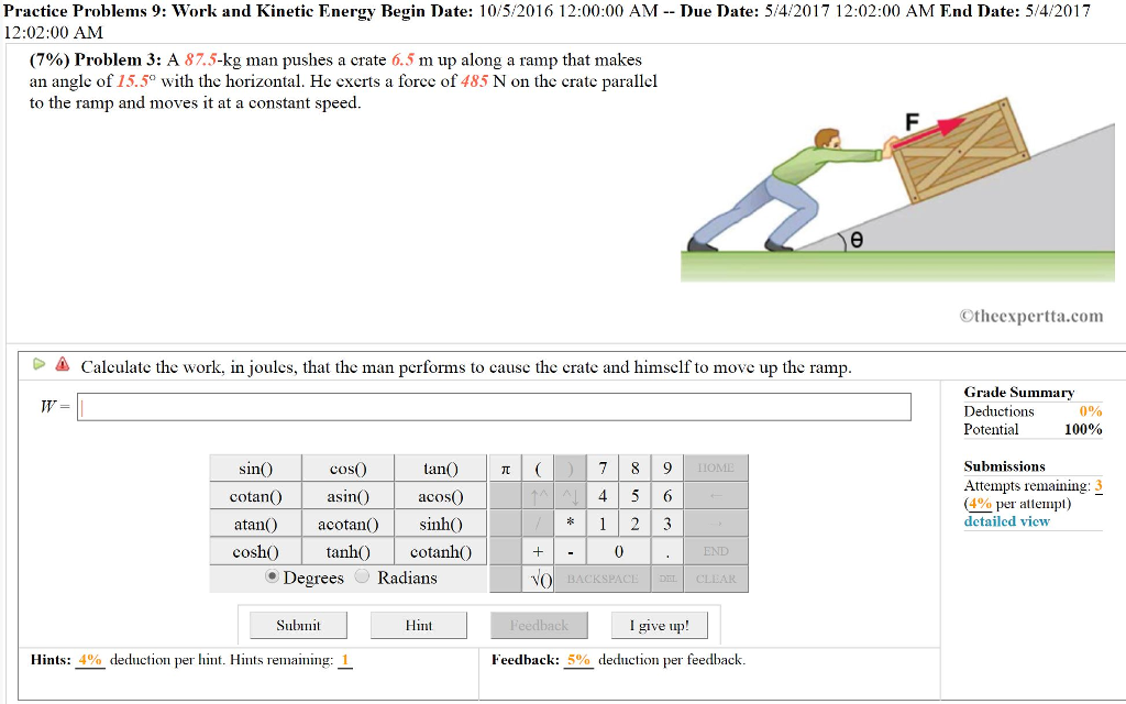 Solved: Practice Problems 9: Work And Kinetic Energy Begin