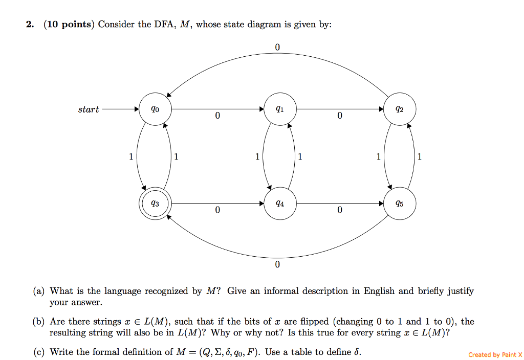 Solved 2 10 points consider the dfa m whose state di 10 points consider the dfa m whose state diagram is ccuart Images