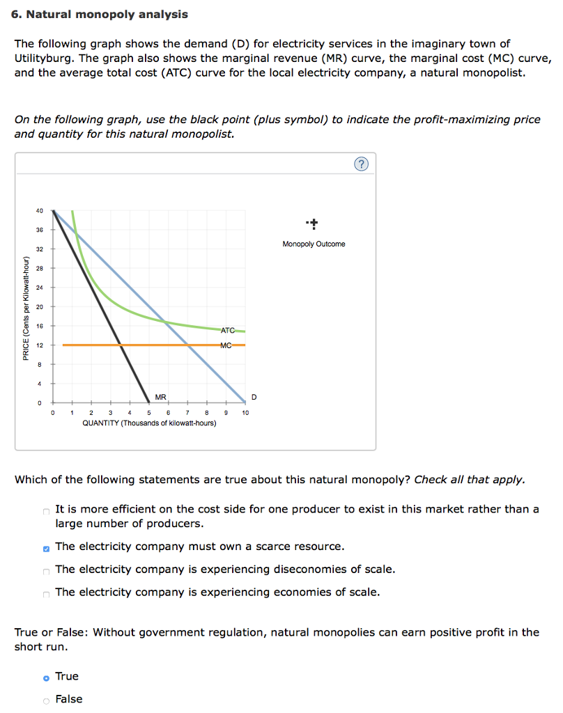 Solved 6 natural monopoly analysis the following graph s natural monopoly analysis the following graph shows the demand d for electricity ccuart Images