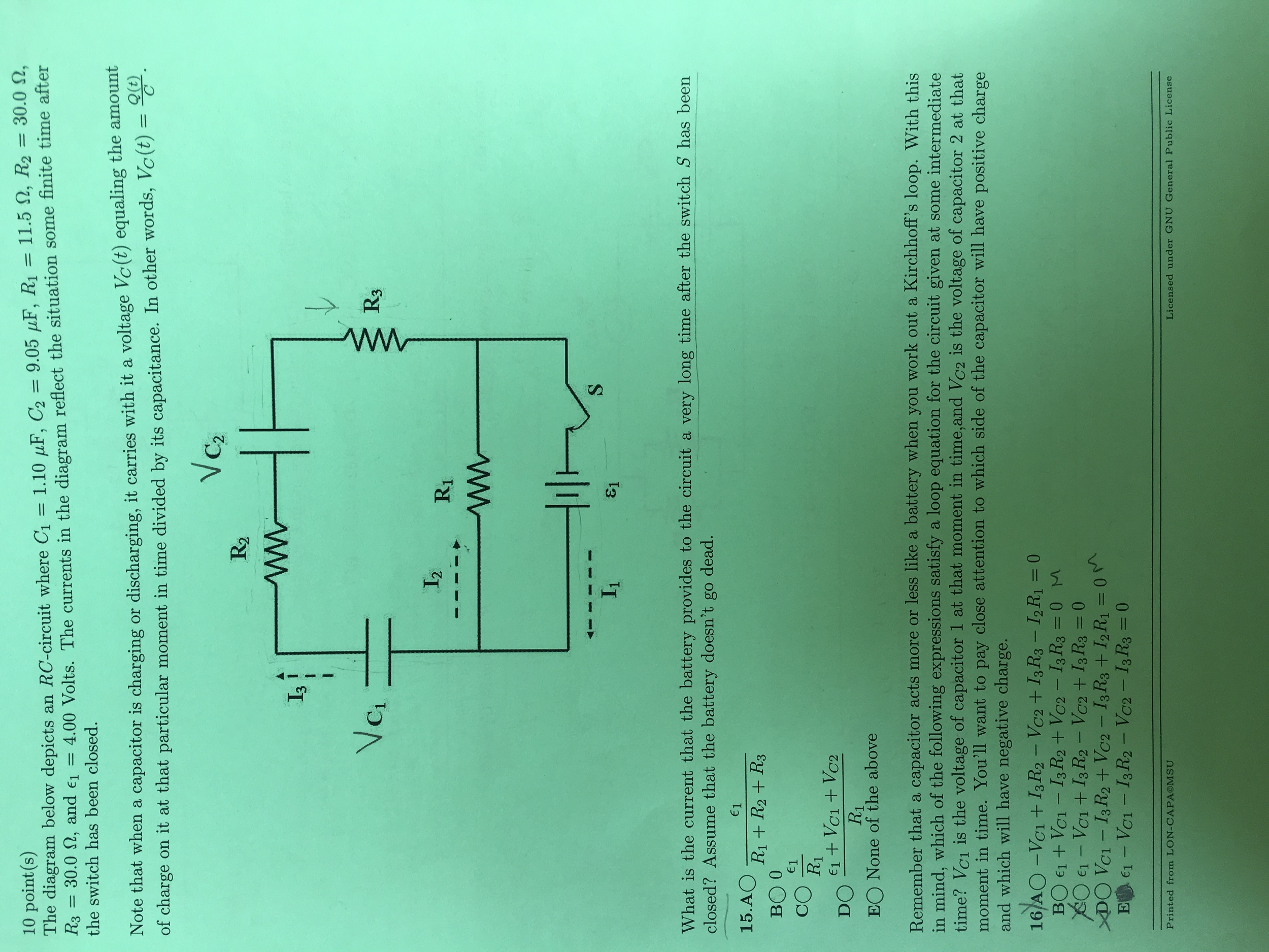 Solved: The Diagram Below Depicts An RC-circuit Where C_1 ...