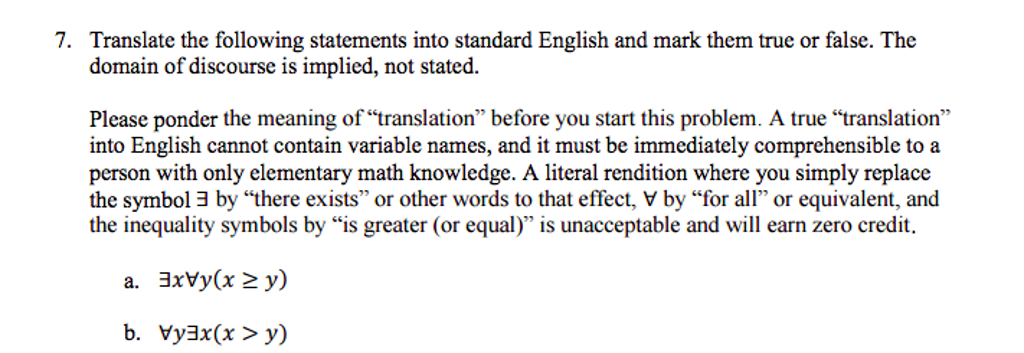 Solved Translate The Following Statements Into Standard E
