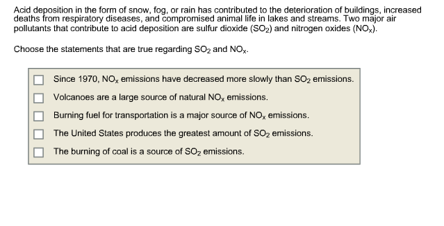 what pollutants form acid rain and how