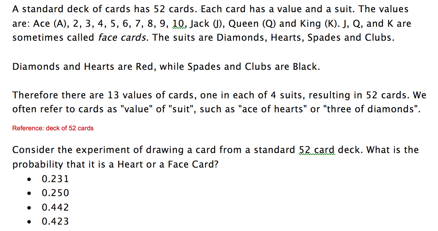 solved a standard deck of cards has 52 cards each card h