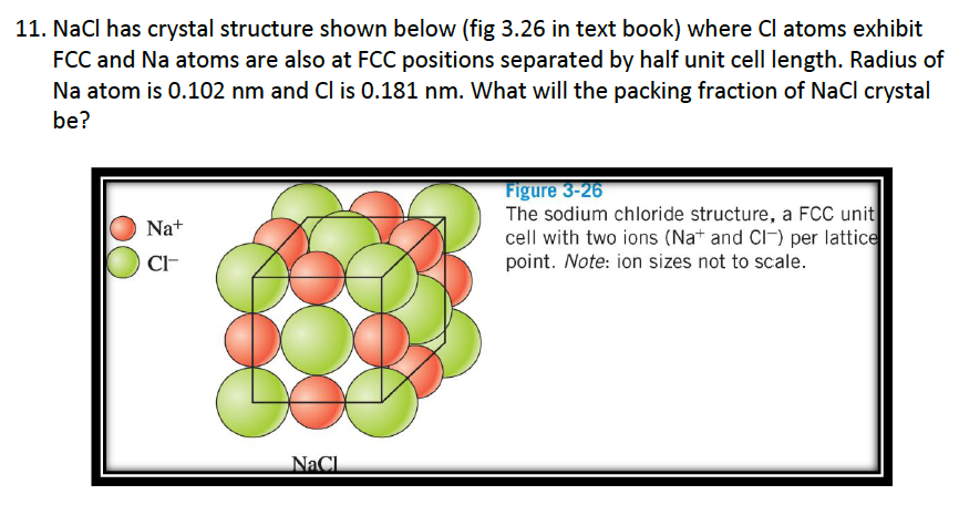 Solved: NaCl Has Crystal Structure Shown Below (fig 3 26 I
