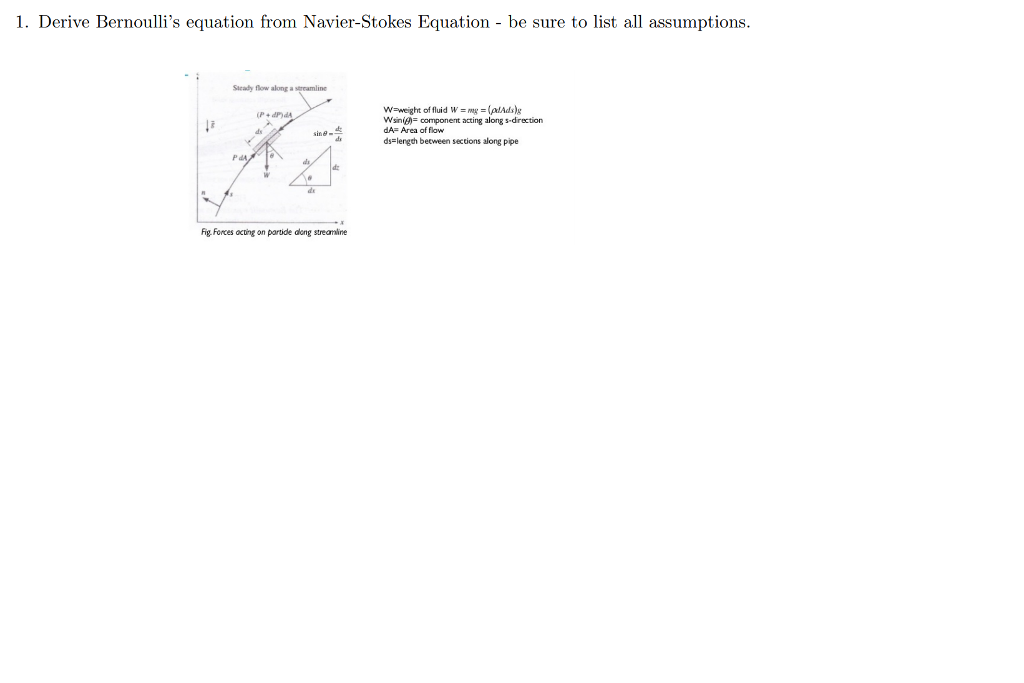 Solved: Derive Bernoulli's Equation From Navier-Stokes Equ