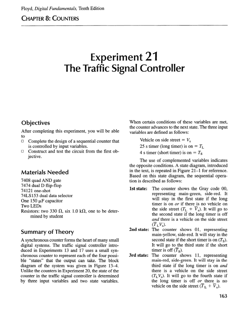 Solved Floyd Digital Fundamentals Tenth Edition Chapter Sequential Circuit J K Flipflop By Cloudfront 8 Counters Experiment 21 The Traffic Signal