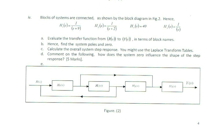 Solved iv blocks of systems are connected as shown by t blocks of systems are connected as shown by the block diagram in fig ccuart Images
