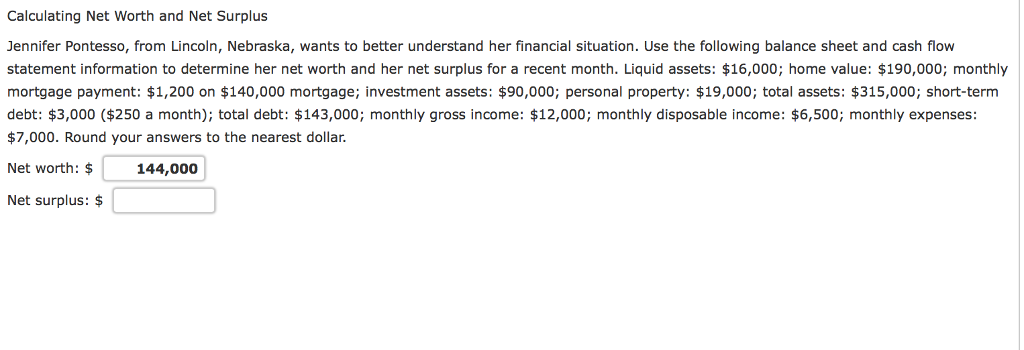 solved calculating net worth and net surplus jennifer pon