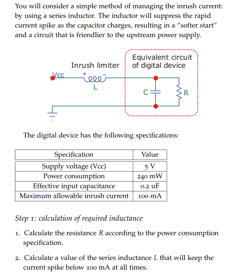Solved You Will Consider A Simple Method Of Managing The Inductor Equivalent Circuit Real Question Inrush Current By Using Series