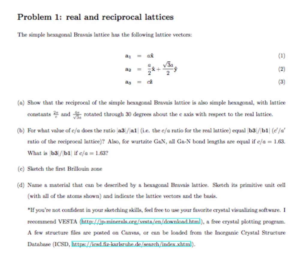 Problem 1: Real And Reciprocal Lattices The Simple