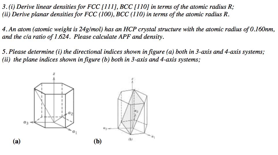Solved Derive Linear Densities For Fcc 111 Bcc 110 I