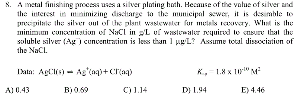 Solved: 8  A Metal Finishing Process Uses A Silver Plating