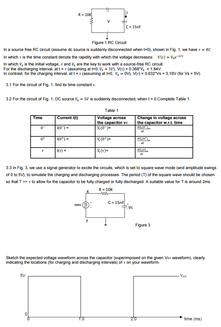 Solved In A Source Free Rc Circuit Assume Dc Is S Circuits Charging
