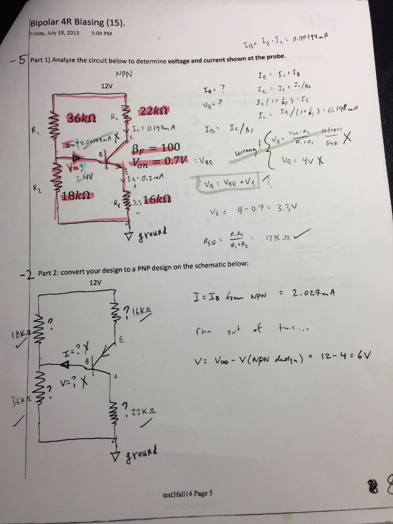Solved Find Vb And Ib Of Npn With The Highlighted Informa Pnp Prox Switch Wiring Diagram Question Information Convert To Then O
