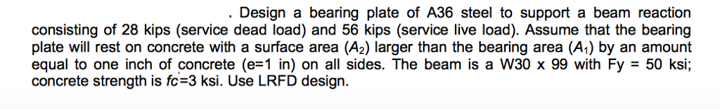 Solved: Design A Bearing Plate Of A36 Steel To Support A B
