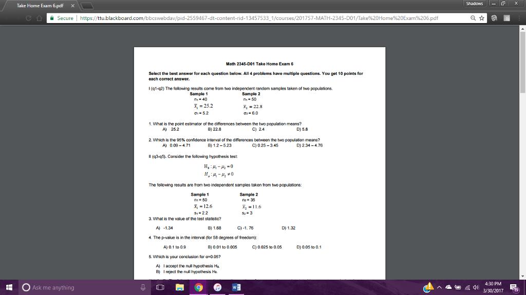 take home exam answers
