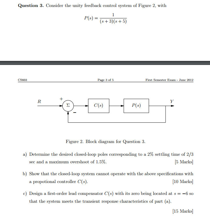 Electrical engineering archive june 05 2017 chegg consider the unity feedback control system of figure 2 with p ccuart Gallery