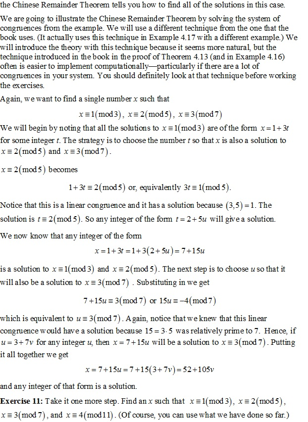 Solved The Chinese Remainder Theorem Tells You How To Fin