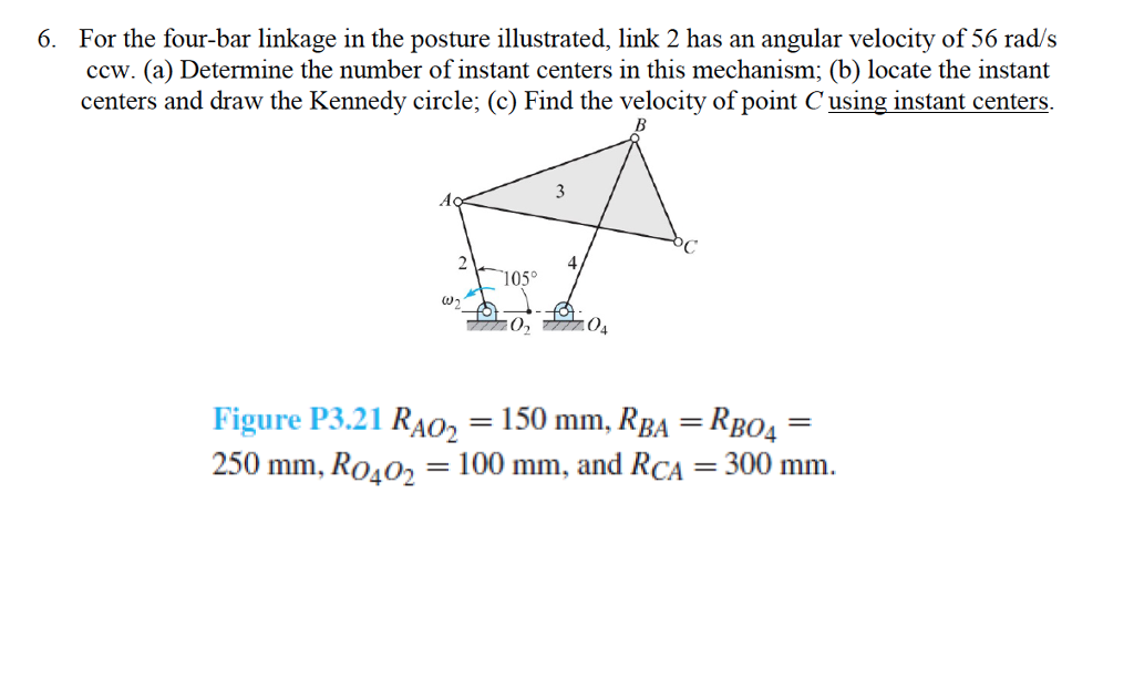 Solved 6 for the four bar linkage in the posture illustr for the four bar linkage in the posture illustrated link 2 has ccuart Images