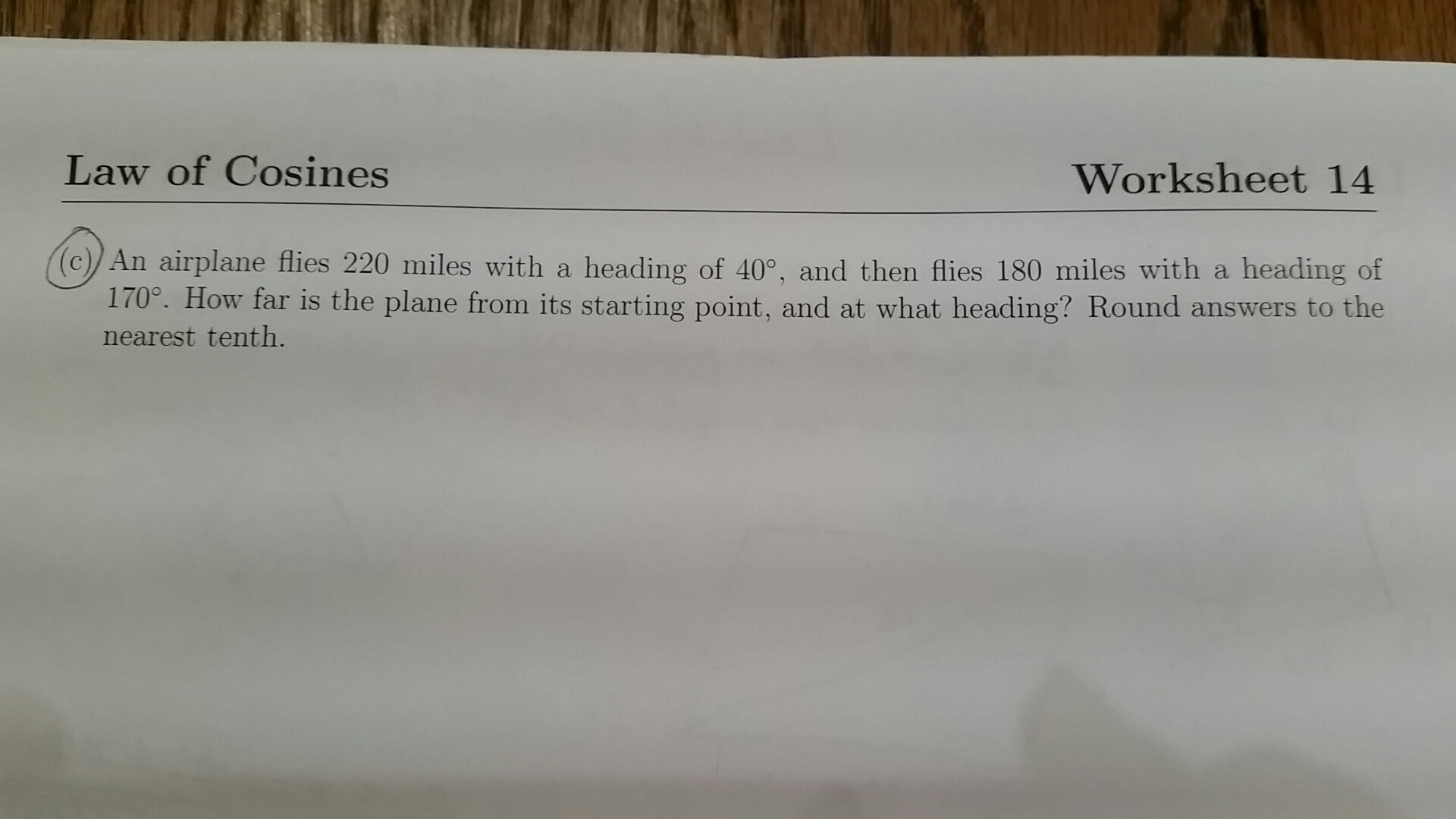 Solved Law Of Cosines Worksheet 14 Can Airplane Flies 22