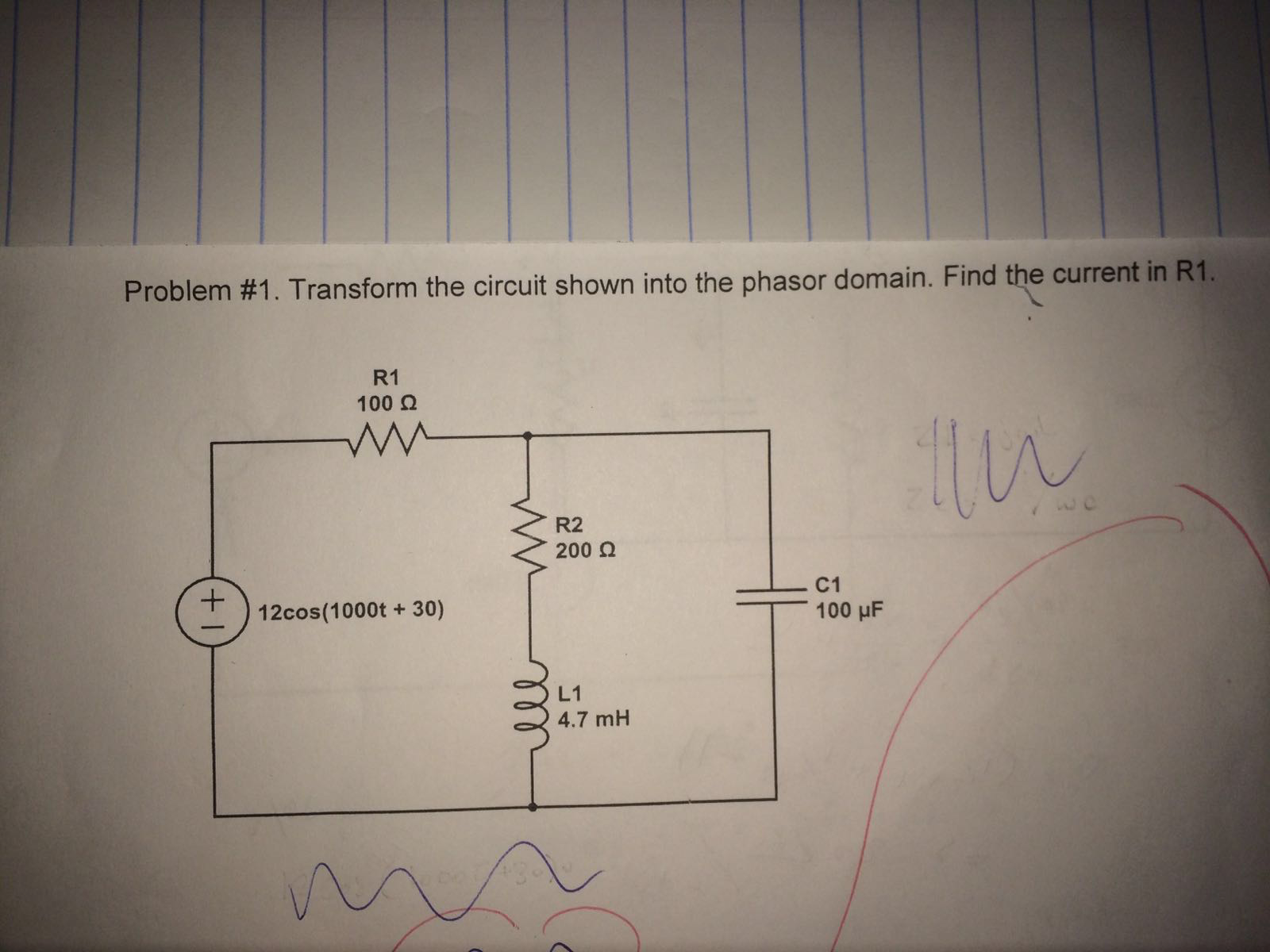 Transform the circuit shown into the phasor domain