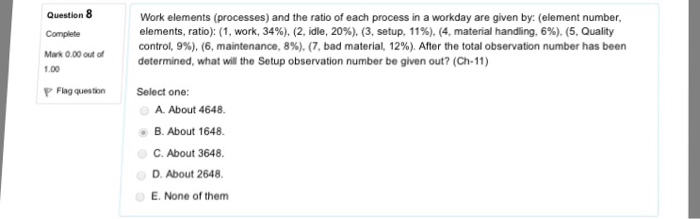 Work Elements (processes) And The Ratio Of Each Pr