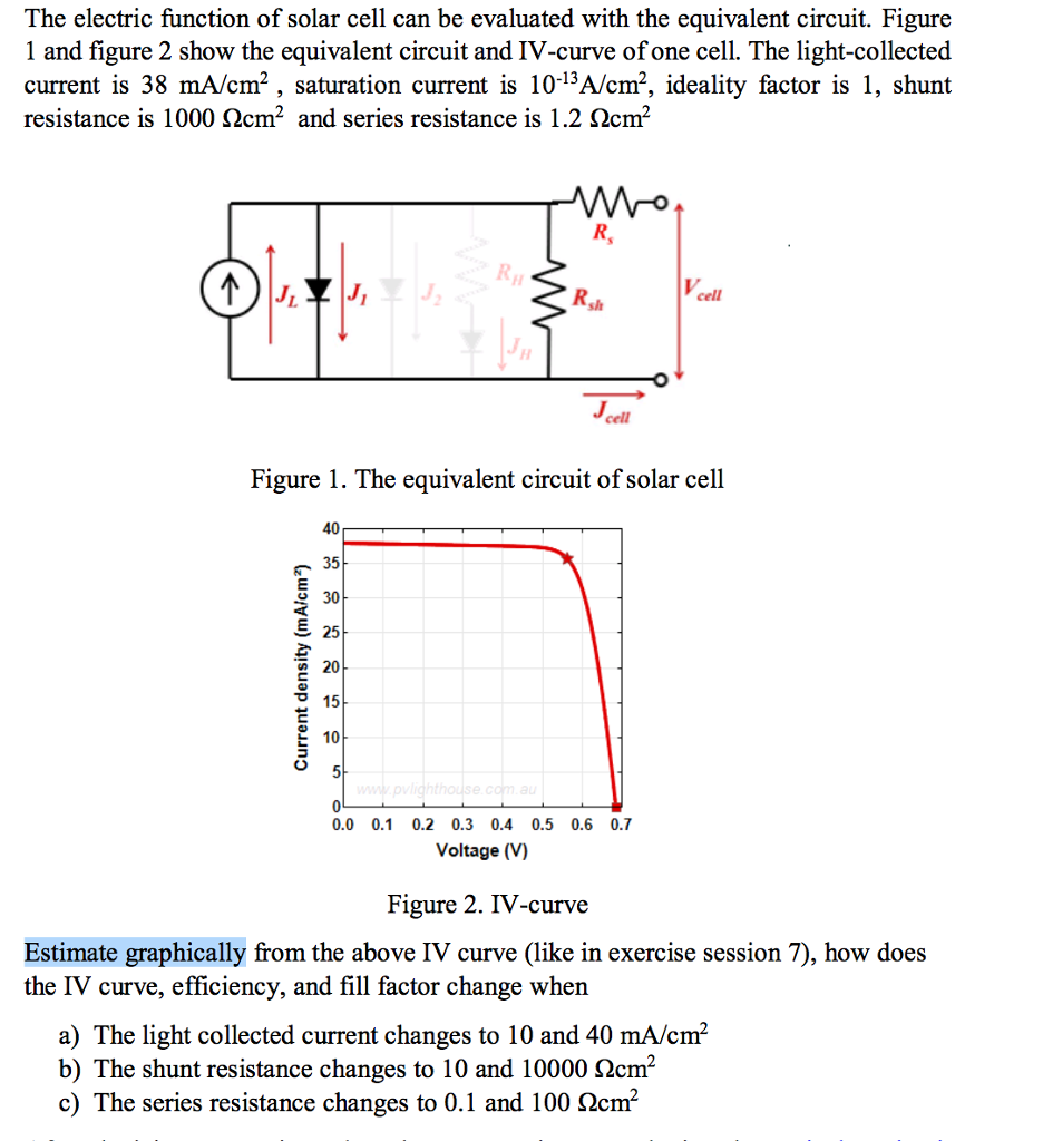 The Electric Function Of Solar Cell Can Be Evaluat Parallel Circuits Question Evaluated With Equivalent Circuit Figure 1 And Fi
