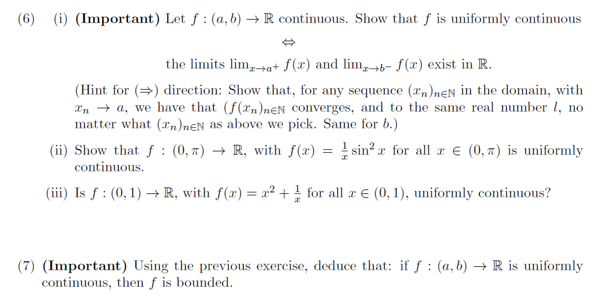 Solved: 6  Real (Mathematical) Analysis  Please Provide Co