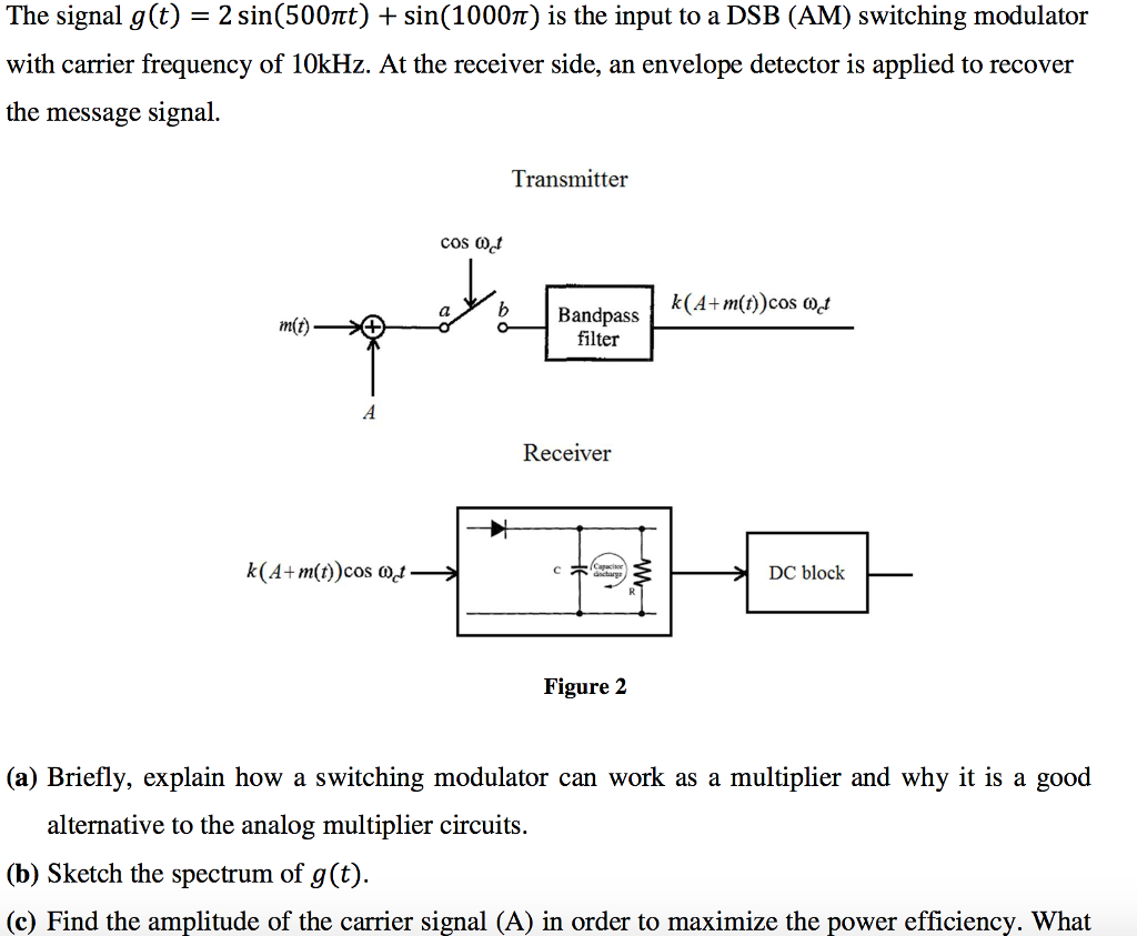 The Signal G T 2 Sin500nt Sin1000n Is An Envelope Detector Block Diagram Of Question Input To A Dsb Am Switching Modulator With Ca
