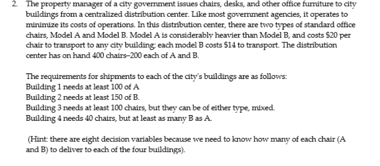 Solved 48 The Property Manager Of A City Government Issue Impressive Ofs Office Furniture Property