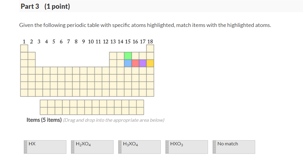 Solved see periodic table q see hint part 1 1 point giv see more show transcribed image text see periodic table q see hint part 1 1 point given the diagram below which contains a mixture of three acids in an urtaz Choice Image