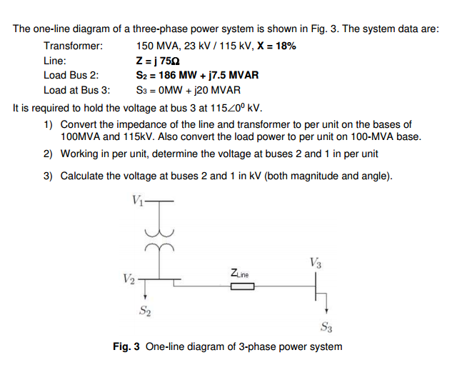 Solved The One Line Diagram Of A Three Phase Power System