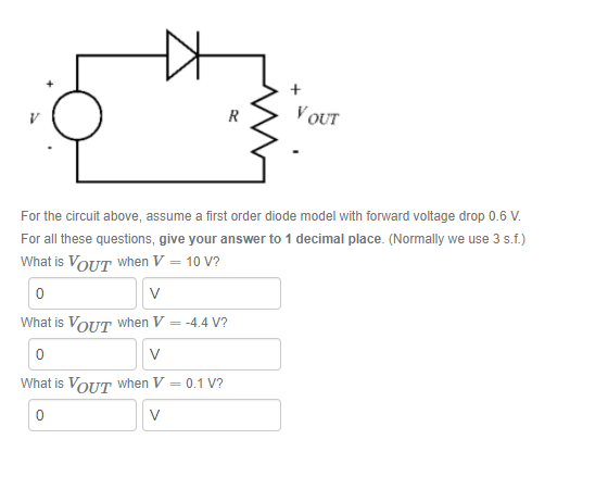 ZS OUT For the circuit above, assume a first order diode model with forward voltage drop 0.6 V For all these questions, give your answer to 1 decimal place. (Normally we use 3 s.f.) What is VoUT when V-10 V? 0 What is VoUT when V-4.4 V? 0 What is VoUT when V-0.1 V? 0